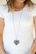 Paparazzi Jewelry Victorian Silver Heart Pendant w/Black  Necklace w/ Earrings