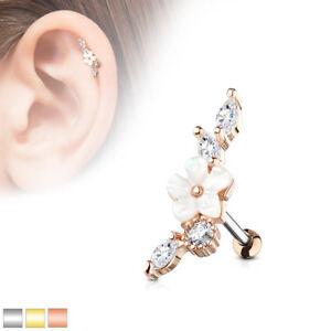 "1pc Mother of Pearl Flower Gem Vine Tragus Helix Cartilage Barbell Ring 16g 1/4"""