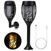 LED USB Solar Taschenlampen Flamme Lampe Gartenlampe Beleuchtung Garten Party DE