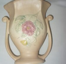 Vintage Hull Pottery Dogwood Floral Vase Urn 8 1/2 Inch Double Handle Scalloped