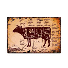 Beef Cuts Instruction retro metal wall plaque tin sign for Butcher Shop