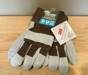 3M Firm Grip Tough Working Gloves Leather Palm with Thinsulate Liner, XLARGE