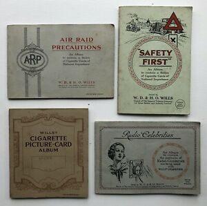 Cig Cards - Speed/Radio Celebs/Safety/Air Raid (Wills) 4 Full Sets In Albums