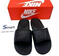 NIB SIZES 7-12 MEN Nike Benassi JDI Logo Black Out Print Slides Sandals Slippers