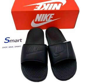 NIB SIZE 8-12 MEN Nike Benassi JDI Logo Black Out Print Slides Sandal Slippers