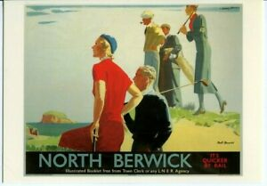 Drumahoe Postcard LNER Berwick It's Quicker by Rail DGR284 repro poster Johnson