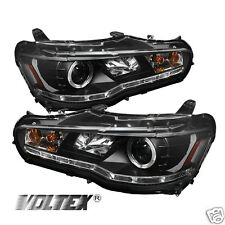 2008-2012 MITSUBISHI LANCER EVO 10 DRL LED PROJECTOR HEADLIGHTS LIGHTBAR BLACK