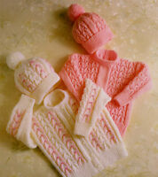 "BABY KNITTING PATTERN DK ~  20"" - 26"" Sweater Hat & Cardigan"