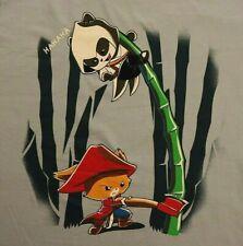 Panda Ninja Bamboo Cat Ax T-shirt M Medium Blue Gildan 100% Cotton Cartoon HaHa