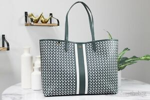 Tory Burch (64206) Large Coated Canvas Jitney Green T Zag MF Tote Bag Purse