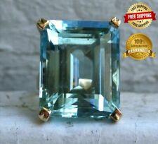 Women Aquamarine Diamond Ring 14K Yellow Gold Engagement Wedding Jewelry New Fas
