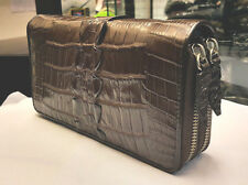 GENUINE CROCODILE WALLETS SKIN LEATHER TAIL TWO ZIPPER WOMEN'S CLUTCH BROWN BAG