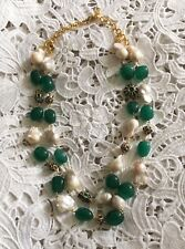 Wedding Chunky Statement Baroque Pearl Emerald Green Jade Necklace Victorian