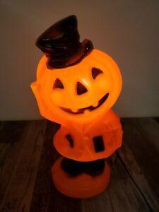 "Vtg Light Up Jack O Lantern Blow Mold Tipping Hat 1969 14"" Empire Plastic USA"