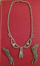 vintage kramer of New York rhinestone necklace and earrings