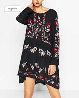 AU seller - Navy blue boho vintage floral embroidered long sleeve loose dress