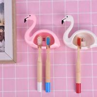 Lovely Flamingo Sucker Toothbrush Holder Suction Hooks Bathroom Accessories