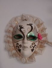 Oriental Decorative Wall Mask, White with Black and Silver/Green Glitter / Used.