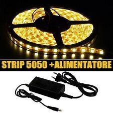 300 LED 5050 STRIP STRISCIA 5m 220V BIANCO LUCE CALDA ALIMENTATORE IMPERMEABILE