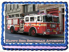 Fire Truck FDNY Premium Frosting Sheet Cake Topper FREE Personalization