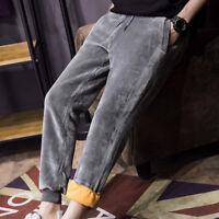 Mens Winter Harem Velvet Sport Pants Joggers Trousers Thicken Fleece Lined Warm