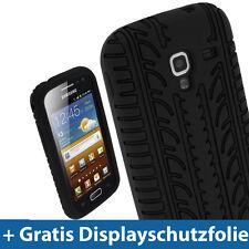 Schwarz Silikon Reifenprofil Tasche für Samsung Galaxy Ace 2 I8160 Android Hülle
