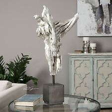 Abstract Angel Silver Driftwood Statue | Modern Contemporary Sculpture