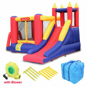 Safety Three Play Areas Inflatable Bounce House Kids Castle Slide with Blower