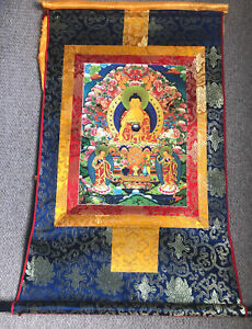 "Large Buddha Thanka/Thangka Painting,wall hanging,80""x64 silk brocade"