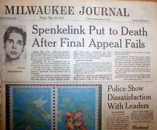 1979 hdl newspaper JOHN SPENKELINK EXECUTED in Florida ELECTRIC CHAIR for MURDER