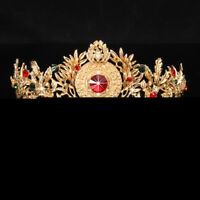Antique Baroque Gold Bridal Tiara Crystal Prom Pegeant Crown Headband Hairband