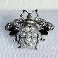 Art Deco Bee Brooch Crystal Pearl Insect Fly Vintage Style Pin Broach Women Gift