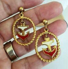 Avon Nautical Drop Anchor Beige Red Enamel Gold Tone Earrings