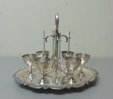 NICE ANTIQUE ENLISH SILVER PLATE EGG CODDLER SET - CUPS, STAND & SPOONS