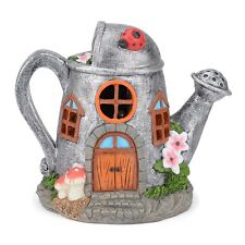 Solar Powered Fairy House LED Watering Can Garden Light Outdoor Ornament Silver