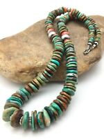 """Native American Navajo Graduated Turquoise Sterling Silver Necklace 23"""" 4363"""