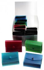 12x Visitenkarten Tasche Etuis farbig sortiert PP Kunststoff mit Druckknopf