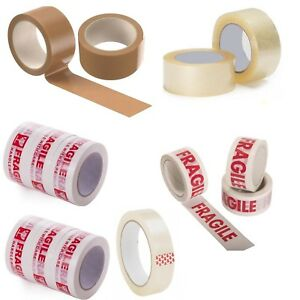 MIXED PARCEL PACKING LONG LENGTH STRONG TAPE FRAGILE/CLEAR/BROWN 50mm X 66M