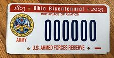 Ohio Sample License Plate Army US Armed Forces Reserve Bicentennial 1803 - 2003