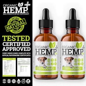 2 x Dog Hemp Oil Calming & Support Supplement | Hemp Oil For Dogs | 50,000mg