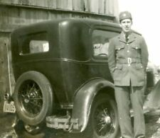 Canadian Soldier and Old Car, WW2, Original Photo