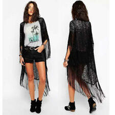Women's Floral Lace Tassel Open Long Cardigan Kimono Cape Cover Up Coats Tops