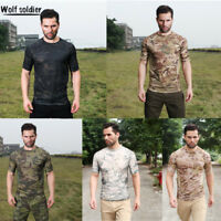 Mens Military Tactical T-Shirt Short Sleeve Combat Shirt Army T Shirt Camouflage