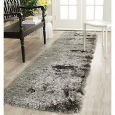 Silken Silver Color 2'3 x 6' Ft Size Fluffy Thick Shag Carpet Hallway Runner Rug