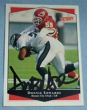 Donnie Edwards Signed 1999 Upper Deck Victory Chiefs Football Card 131 Autograph