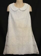 MISS LEONA (EDMISTON) Girls Ivory White Lace Overlay Sleeveless Shift Dress 8