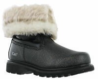 Caterpillar Bruiser Scrunch Fur Black Silver Slip On Womens Fashion Boots UK3-4