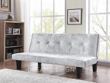 Crushed Velvet Fabric Sofabed 3 Seater Modern DESIGNER Silver Home/office Room