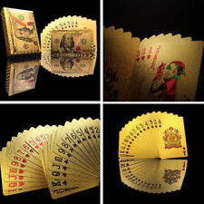 Durable Waterproof 24K Gold Foil Poker 54 Playing Card Casino Table Game Dollar