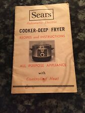 Sears Kenmore Automatic Electric Cooker Deep Fryer instruction Booklet ONLY